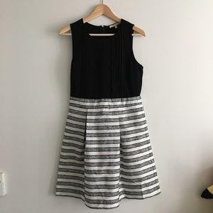 Stitch Fix Sleeveless Striped Pleated Sheath Dress